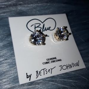 """New👑Betsey Johnson💎""""Blue""""💎Gold Crown Studs!👑"""
